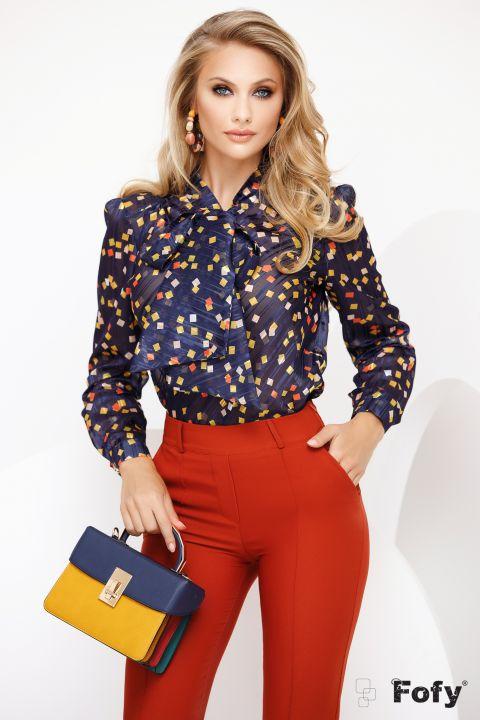 Bluza Fofy bleumarin cu funda maxi si imprimeu patratele colorate