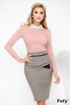 Camasa Fofy eleganta office roz prafuit cu guler brodat cu cristale