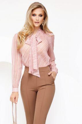 Bluza Fofy roz prafuit cu fir din lurex si imprimeu geometric