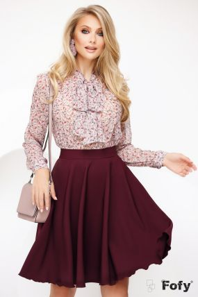 Bluza Fofy rose cu funda maxi si imprimeu picatele colorate