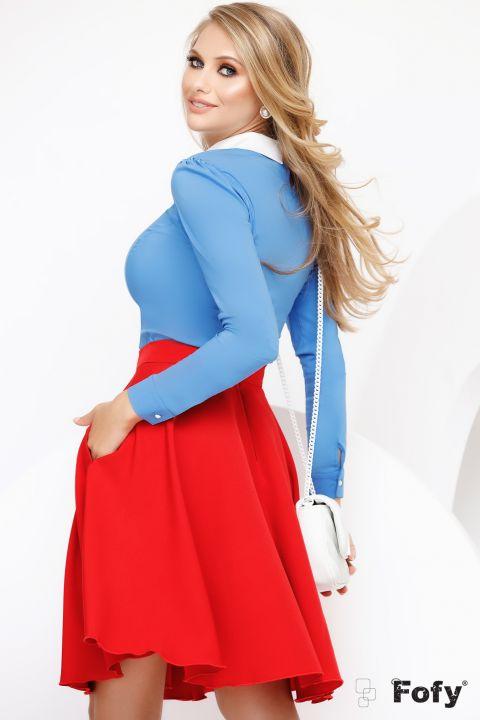 Camasa Fofy albastra cu guler alb accesorizat cu margele