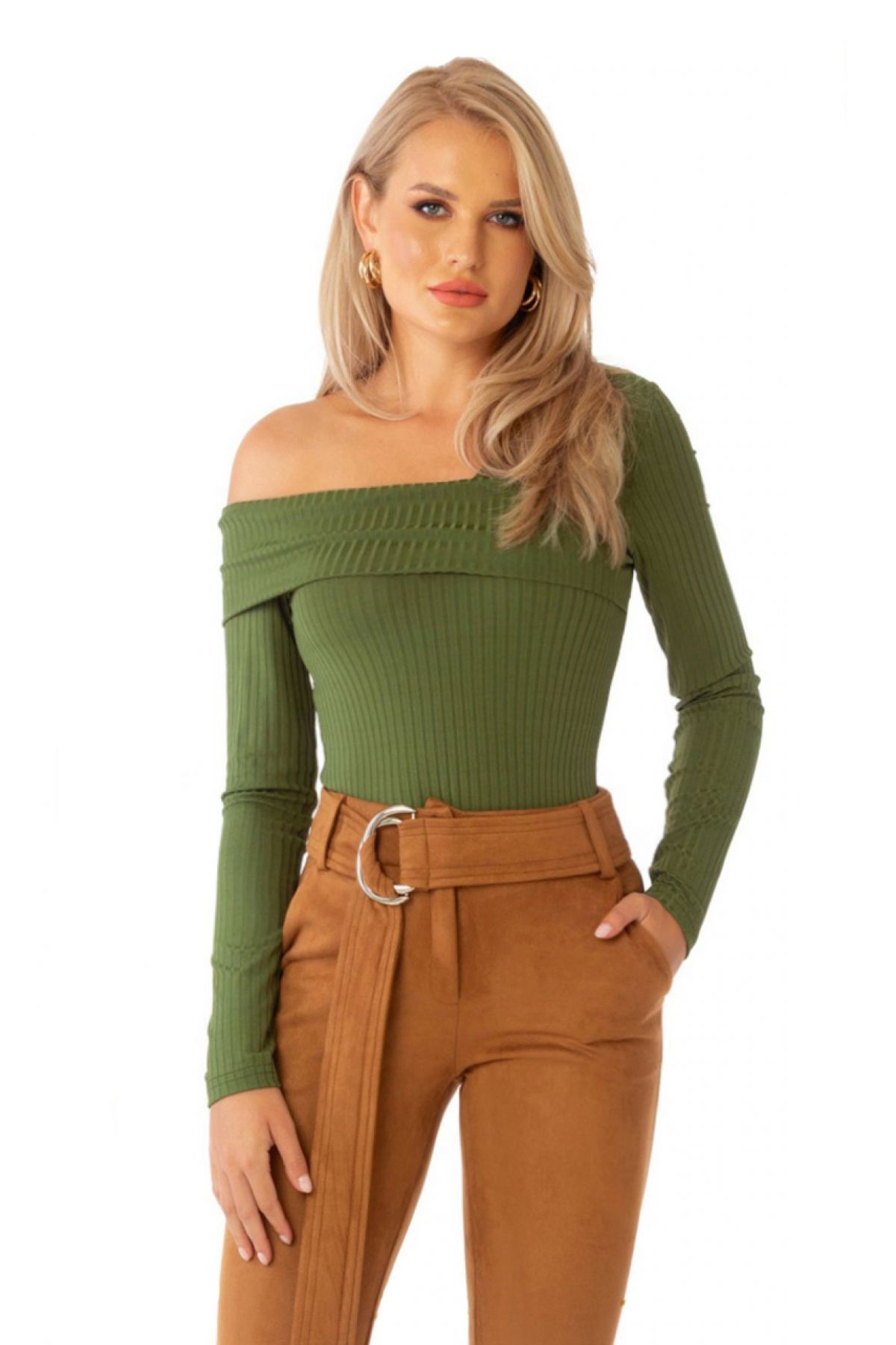 Bluza Pretty Girl verde cu un umar gol cambrata din lycra