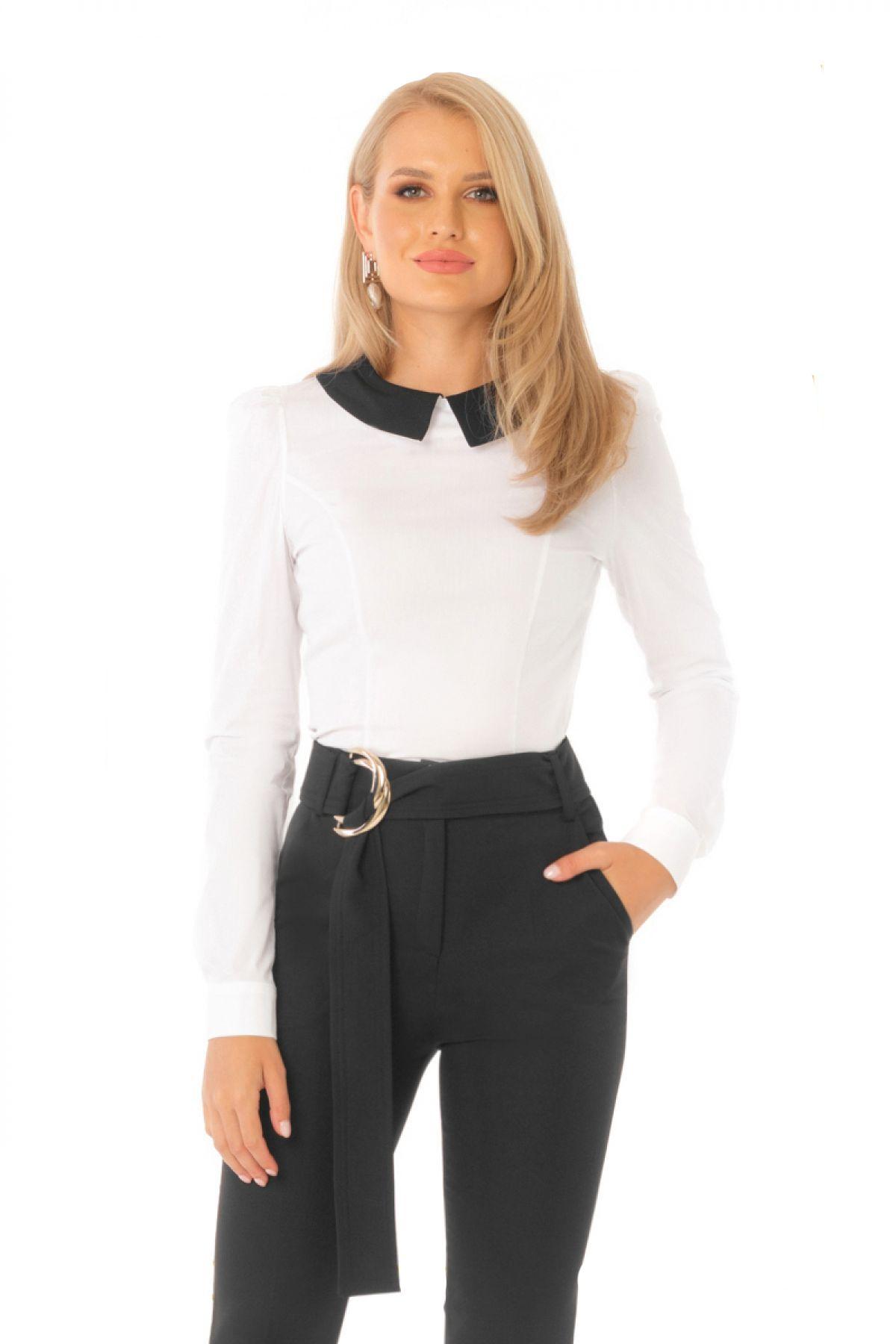 Camasa office Pretty Girl cu maneca lunga si guler negru