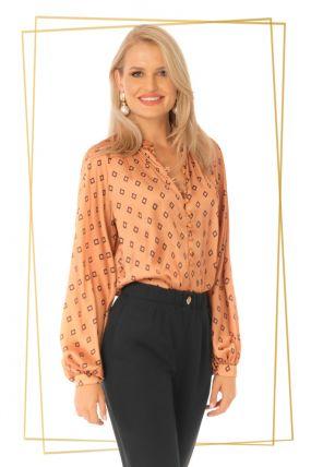 Bluza Pretty Girl eleganta camel din voal cu imprimeu romburi