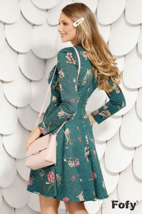 Rochie Fofy de zi verde in clos cu imprimeu floral si buzunare laterale