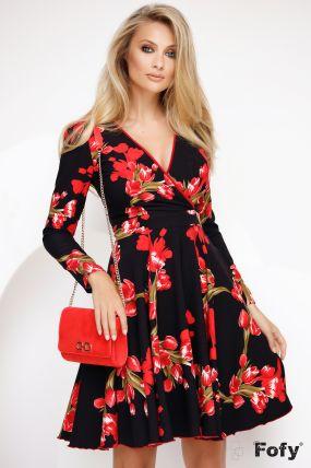 Rochie de zi Fofy in clos cu imprimeu lalele rosii si cordon detasabil