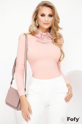 Camasa office Fofy roz pudra cu guler tip esarfa cu funda stilizata