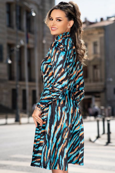 Rochie MBG eleganta turquoise cu imprimeu zebra si insertii din dantela