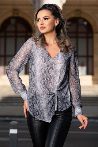 Bluza eleganta gri cu imprimeu sarpe si nod silizat