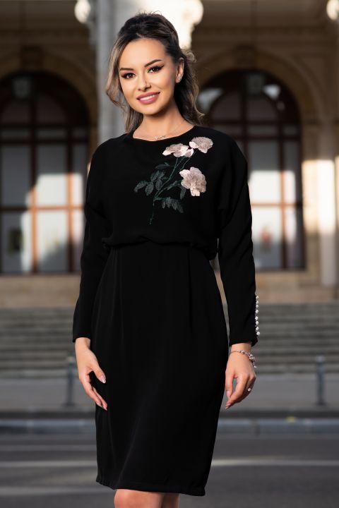 Rochie Effect neagra cu flori brodate si nasturi tip perla