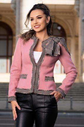 Sacou Effect roz pudrat din stofa cu funda stilizata pe umar
