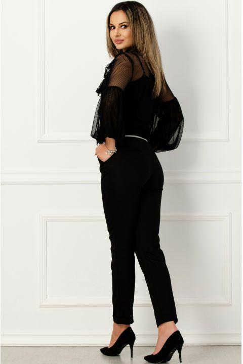 Pantaloni Effect office negri cu banda elastica in talie
