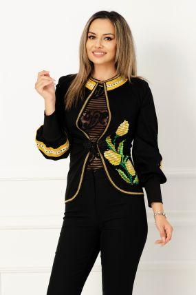 Jacheta neagra cu broderie traditionala lalele galbene