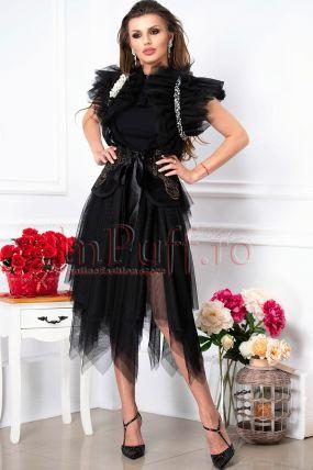 Vesta Venezia eleganta neagra cu tul si perle pe umar