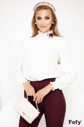 Bluza Fofy ecru cu guler si mansete crete si accesoriu tip brosa cu floare