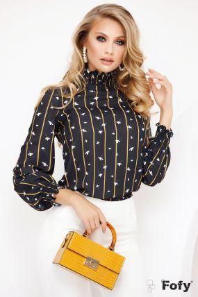 Bluza eleganta Foy cu imprimeu dungi si guler incretit