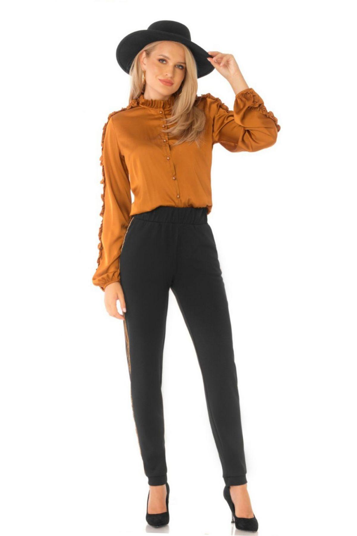 Pantaloni Pretty Girl negri cu vipusca camel si elastic in talie