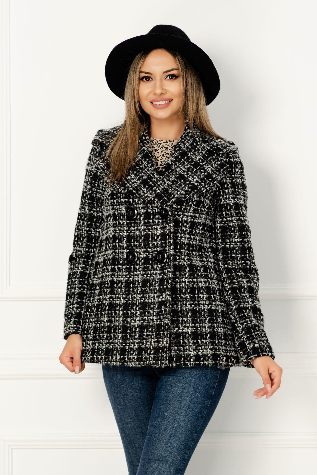 Jacheta Xara eleganta din bucle in carouri