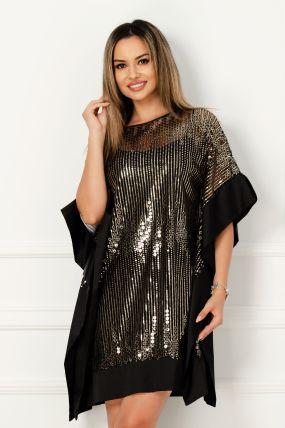 Rochie de seara din satin cu paiete aurii