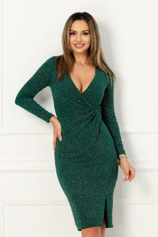 Rochie Xara de seara din jerse verde stralucitoare cu nod stilizat in talie