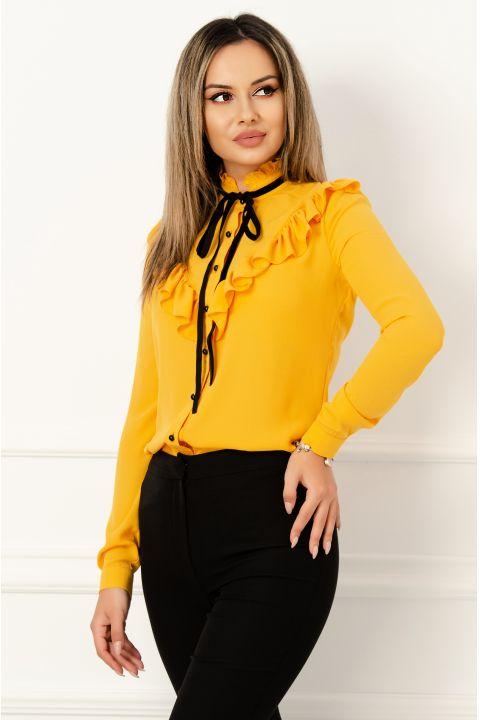Bluza eleganta mustar din voal cu volanase si funda stilizata din catifea