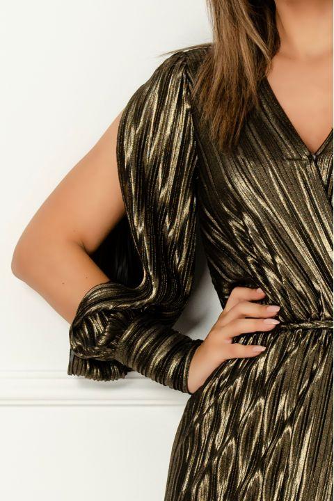Rochie Xara de seara aramie din jerse plisat cu cordon impletit si maneci sparte