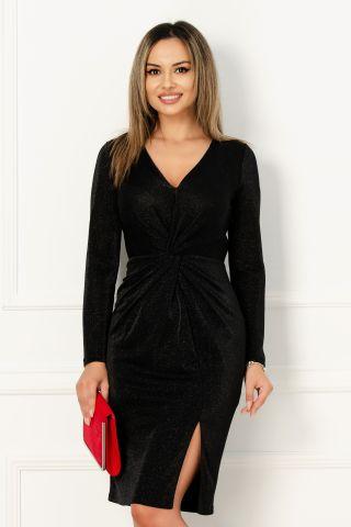 Rochie Xara de seara negru lucios cu nod stilizat in talie
