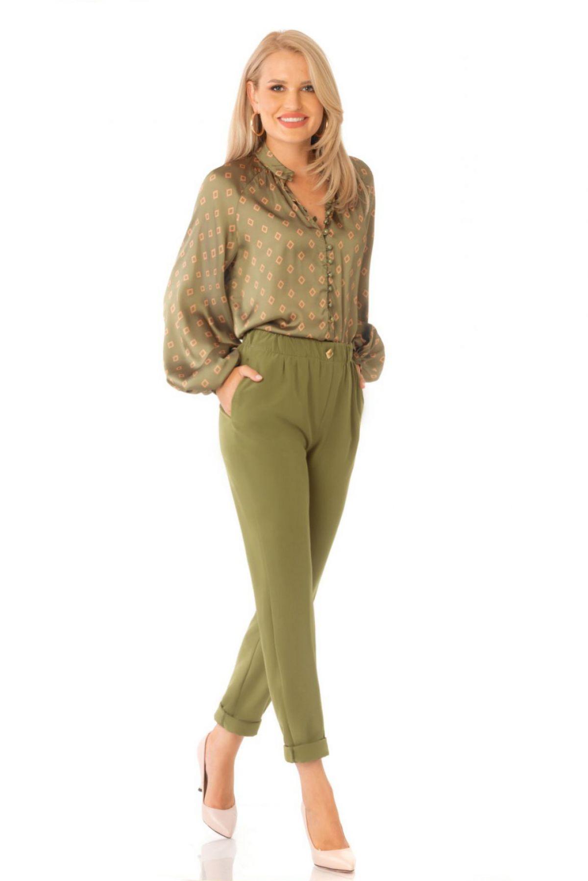 Pantaloni office Pretty Girl kaki cu tiv intors
