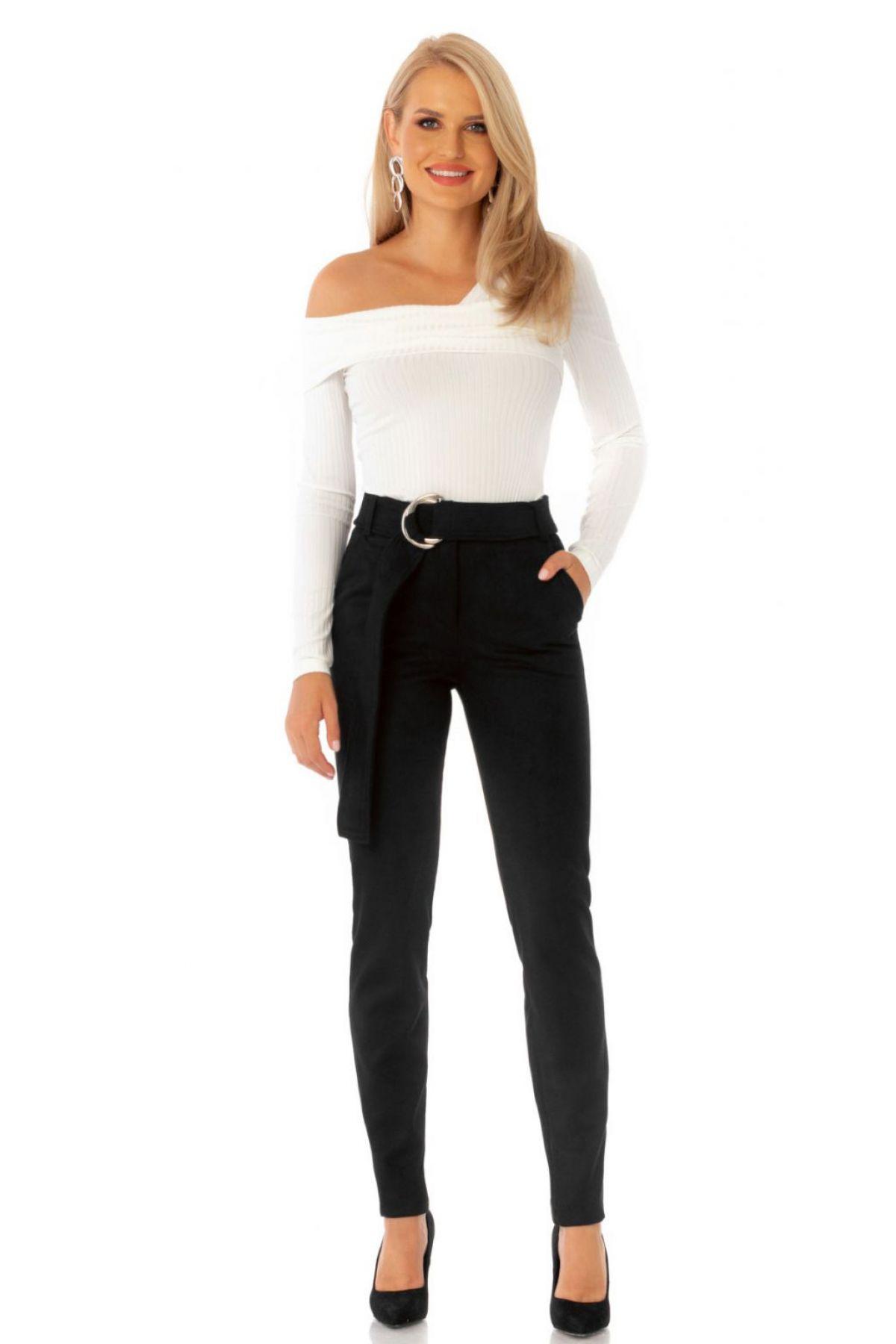Pantaloni Pretty Girl office negri din imitatie de piele intoarsa cu accesoriu metalic