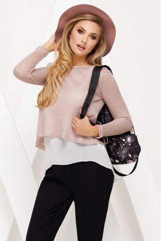 Bluza Fofy casual din tricot roz prafuit cu top din voal ecru