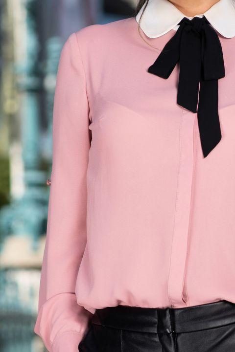 Camasa MBG office roz prafuit cu guler alb si funda stilizata neagra din panglica