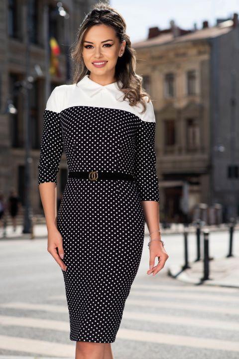 Rochie MBG conica office alb-negru cu imprimeu buline si curea in talie