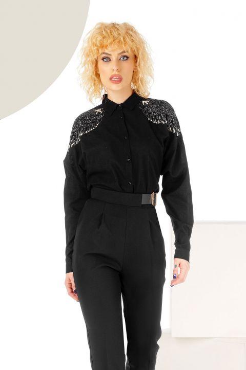Bluza neagra oversize cu aplicatii tip aripi pe umeri
