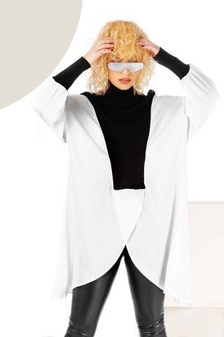 Bluza asimetrica din vascoza alb-negru