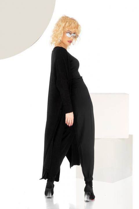 Cardigan lung negru din tricot