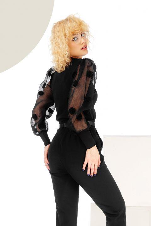 Bluza neagra cu maneci din organza si aplicatii 3D