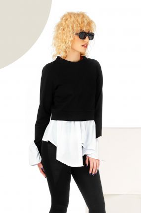 Bluza trendy alb-negru asimetrica