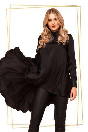 Bluza Pretty Girl neagra asimetrica cu guler din piele ecologica si maneca lunga cu manseta