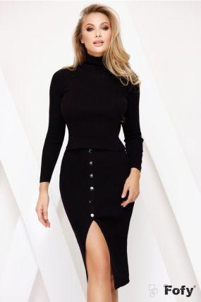 Set casual trendy negru din tricot fin cu nasturi decorativi