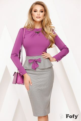Fusta Fofy office cu funda mov si peplum