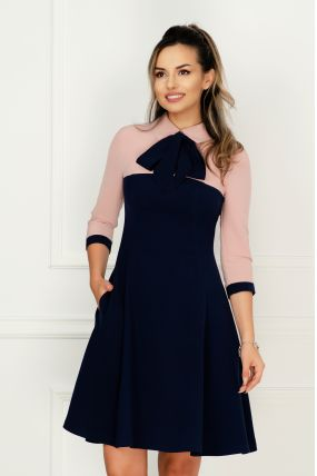 Rochie MBG de zi bleumarin-roz prafuit in clos cu buzunare laterale