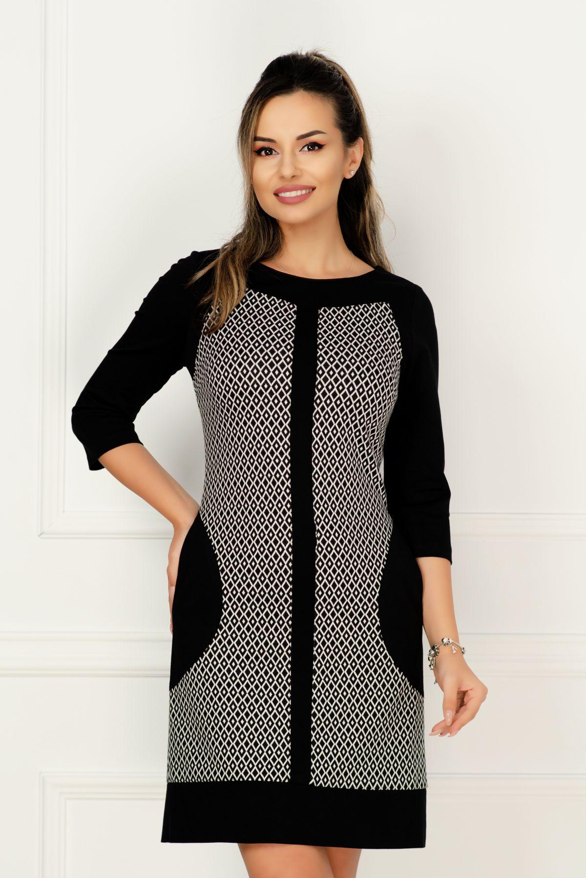 Rochie MBG de zi din tricot cu imprimeu romburi si buzunare laterale MBG-Collection