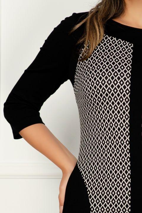 Rochie MBG de zi din tricot cu imprimeu romburi si buzunare laterale