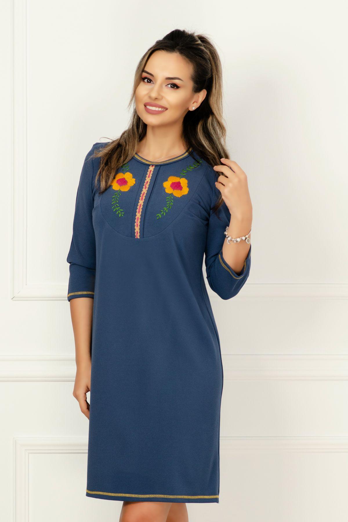 Rochie de zi albastra cu flori cusute Venezia-Artigiano-Moda