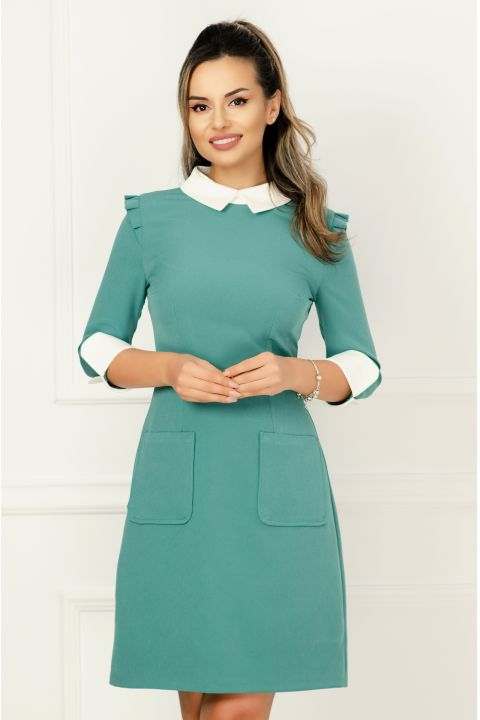 Rochie office eleganta turquoise cu guler si mansete albe