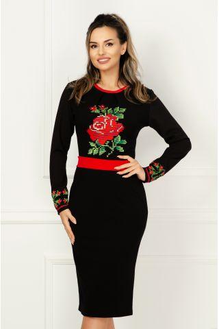 Rochie de zi Venezia neagra cu broderie florala si cordon detasabil in talie