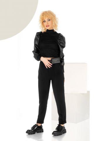 Pantaloni trendy negri cu pliuri si talie inalta