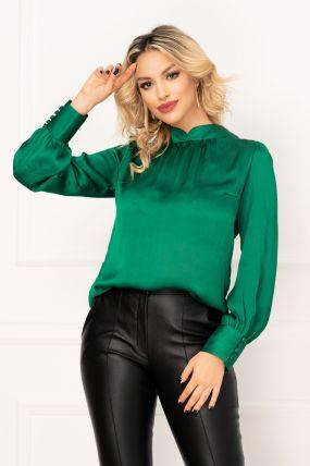 Bluza Hermosa office verde din sifon gofrat cu maneci bufante