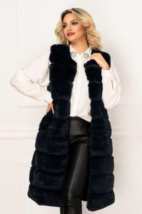 Vesta lunga din blana ecologica bleumarin cu buzunare laterale