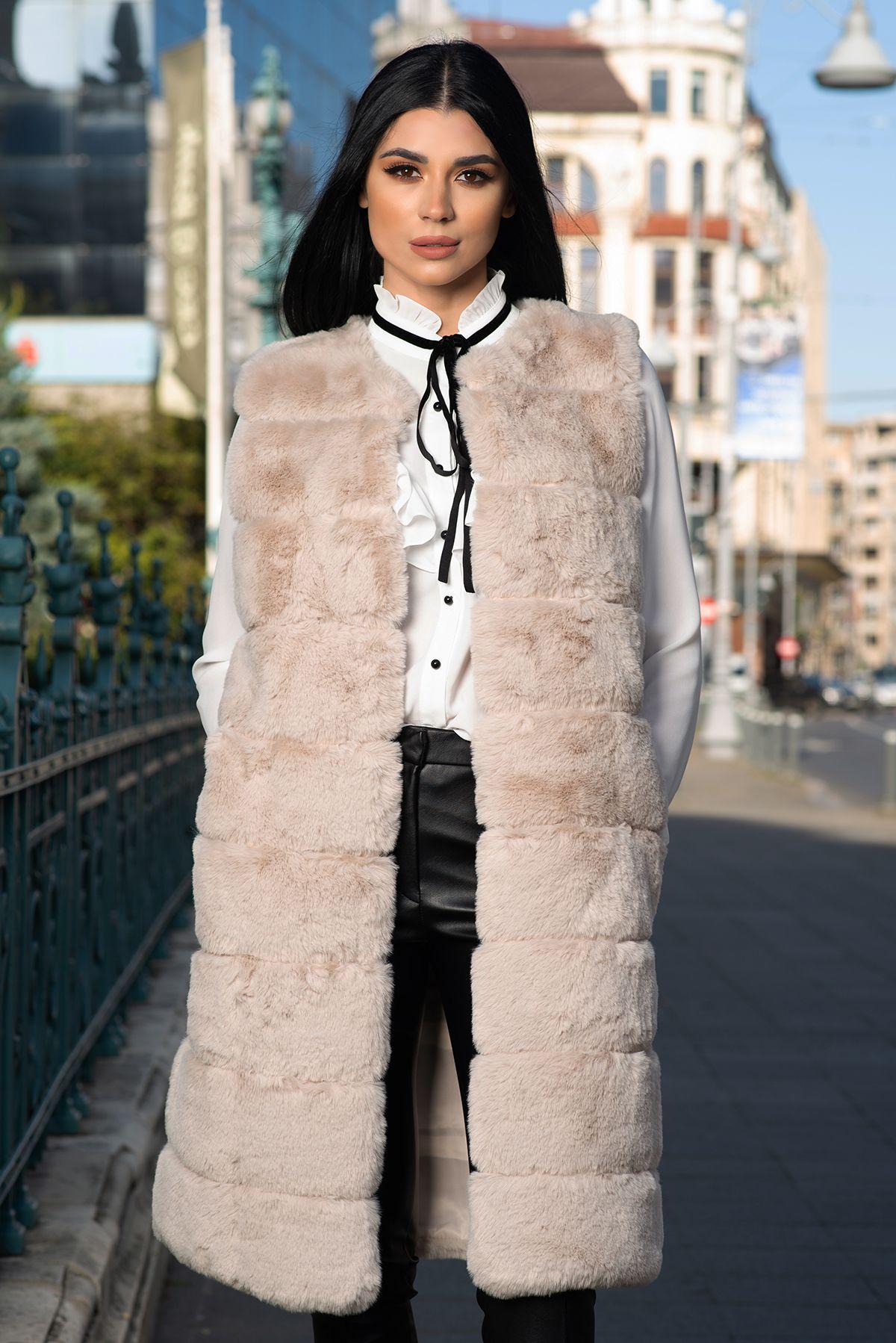 Vesta lunga din blana ecologica bej cu buzunare laterale